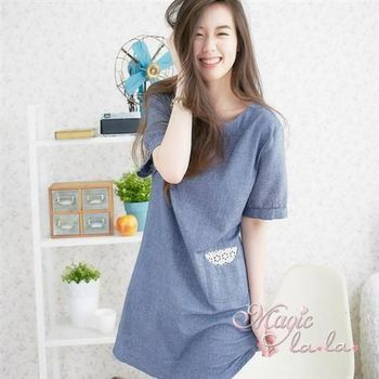 【魔法拉拉】圓領亞麻蕾絲口袋日系短袖洋裝A540(品味藍)