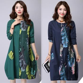【韓國K.W. 】韓版拼接印花寬鬆長袖連衣裙