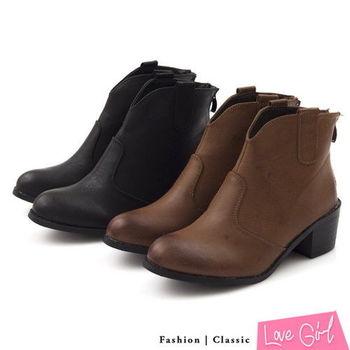 ☆Love Girl☆美式簡約前V口修腿粗跟短靴