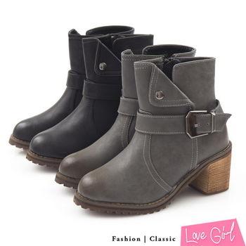 ☆Love Girl☆率性斜口反摺造型單扣粗跟短靴