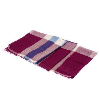BURBERRY 經典輕盈大格紋純棉木代爾混紡仕女方巾/絲巾(90cm-洋紅)