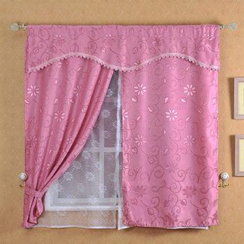 【莫菲思】佳芸-緹花新明采雙層網紗窗簾150*150cm(三色可選)
