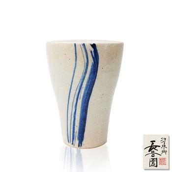 【日本長谷園伊賀燒】日式陶土杯(挑藍刷毛目款)
