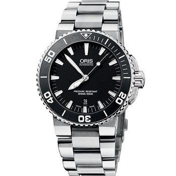 Oris Aquis 時間之海專業潛水機械腕錶-黑/42mm 0173376534154-0782601PEB