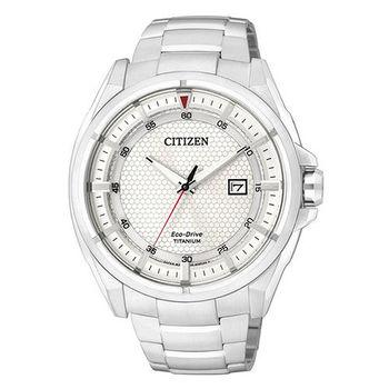 【CITIZEN】率性爵士 鈦金屬光動能時尚腕錶-銀/38mm(AW1401-50A)