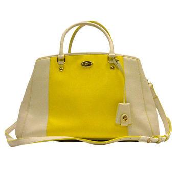 【COACH】名媛最愛白X黃雙色皮革大容量手提斜肩背兩用背殼包
