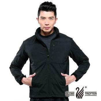 【遊遍天下】中性款防水防風透濕內裡舒適刷毛軟殼機能外套(黑)