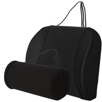 【源之氣】竹炭透氣加強記憶可調式腰墊+竹炭萬用圓柱護腰(9452+9453)