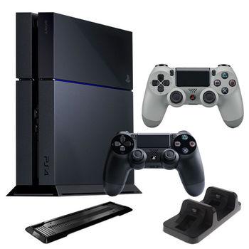 PS4主機 CUH-1107 500G + 20周年限定手把 + 副廠雙手充(DOBE) + 小藍雙遊戲下載卡 + 副廠直立架
