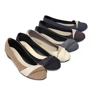 【Pretty】熱銷款金蔥拼接楔型低跟鞋-紫色、藍色、米色、灰色