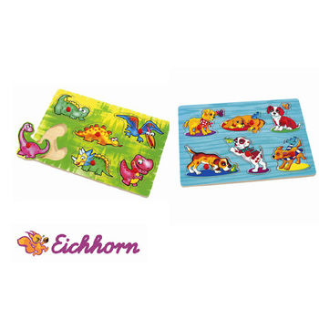 【德國Eichhorn】可愛動物圖案拼圖兩款入(狗狗+恐龍寶寶)