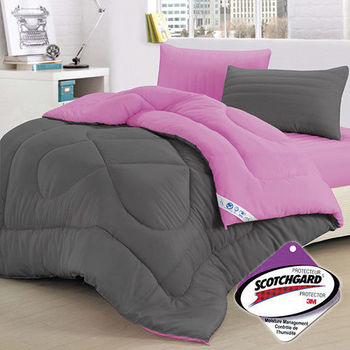 【精靈工廠】吸濕排汗專利雙色羽絲絨被1.3kg-時尚灰+愛戀紫(B0808-AL)
