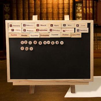 黑板 萬年曆磁性黑板 木支架式磁性小黑板 畫架式留言板 附小磁鐵+小板擦+粉筆