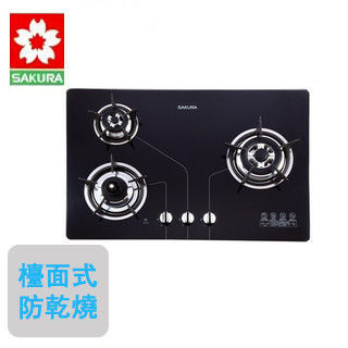 【櫻花SAKURA】G-2830KG 三口防乾燒節能檯面爐(天然瓦斯)