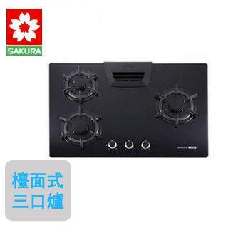 【櫻花SAKURA】G-2835G 三口高效節能檯面爐(黑玻璃)(天然瓦斯)