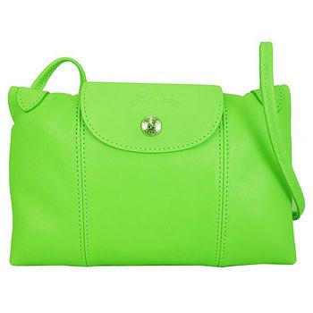 Longchamp Le Pliage Cuir 小羊皮迷你斜背包(249綠色)