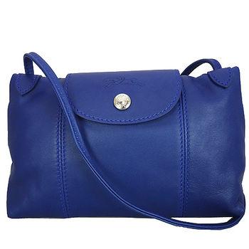 Longchamp Le Pliage Cuir 小羊皮迷你斜背包(127藍色)