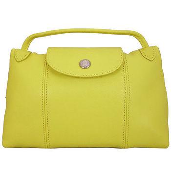 Longchamp Le Pliage Cuir 小羊皮迷你斜背包(020黃色)