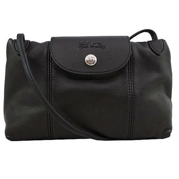 Longchamp Le Pliage Cuir 小羊皮迷你斜背包(001黑色)