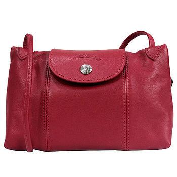 Longchamp Le Pliage Cuir 小羊皮迷你斜背包(045紅色)