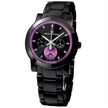 【Max Max】璀璨獨特 三眼全日曆陶瓷腕錶(MAS50803J-B1-IP黑X紫)