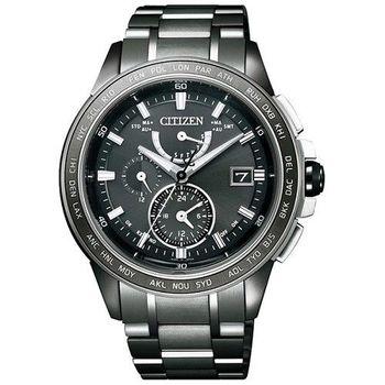 CITIZEN 耀眼北極星鈦金屬電波時尚優質腕錶-黑灰-AT9025-55E