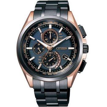 CITIZEN 終極密令5局電波時尚光動能男性腕錶-黑金-AT8044-64E