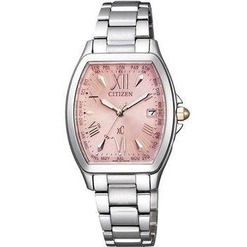 CITIZEN xC 可愛蘿莉5局電波時尚優質女性腕錶-粉-EC1100-56W