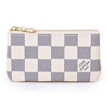 LV N62659 白棋盤格紋小型方型鑰匙零錢包_預購