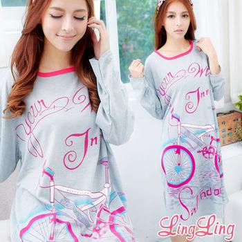 lingling日系 大尺碼-腳踏車圖案T恤居家連身長袖睡衣(繽紛桃)A1518