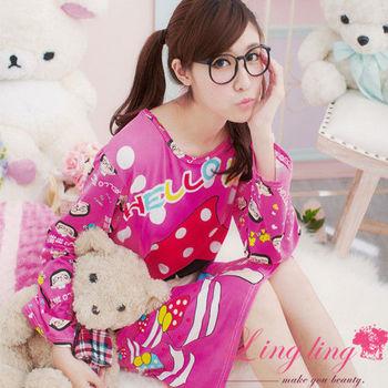 lingling日系 全尺碼-甜蜜卡通菜菜印圖連身洋裝睡衣(甜蜜桃)A1254-01