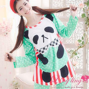 lingling日系 全尺碼-熊貓圓仔點點條紋牛奶絲二件式睡衣組(蘋果綠)A1252