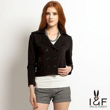 IFOREST英倫風格雙排釦短版外套(黑色13508)
