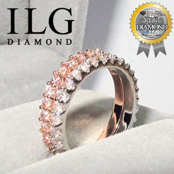 ILG鑽 頂級八心八箭擬真鑽石戒指 盛事經典款(白K) 優雅美人款(玫瑰金) 主鑽約1.02克拉 RI063 RI064  歐美熱銷搭配一克拉鑽戒
