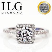 ILG鑽 八心八箭擬真鑽石戒指 視覺方鑽款 主鑽約75分 RI054 婚情人節送禮