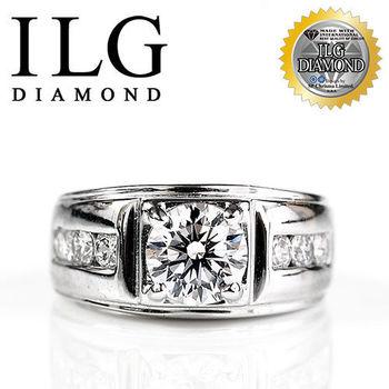 ILG鑽 頂級八心八箭擬真鑽石戒指 愛如潮水款 主鑽約1.5克拉 RI043 優雅男士