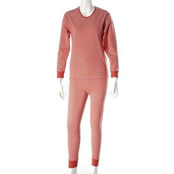 Madanna加厚加大天鵝絨發熱衣組9046- 黑與橘紅色