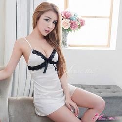 蕾絲蝴蝶結奶白柔東森購物 頻道緞睡衣