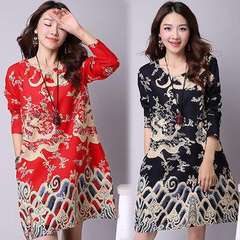 【韓國K.W. 】典雅印花民族風寬鬆長袖洋裝