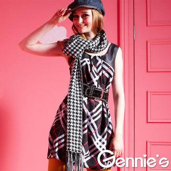 【Gennie's奇妮】時尚格紋拼接燈籠裙孕婦背心洋裝(G2Y01)-黑