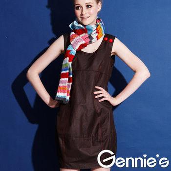 【Gennie's奇妮】簡約風格大U領燈籠裙孕婦背心洋裝(G2Y13)咖啡-M