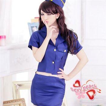 【性感小蜜桃】角色遊戲-制服開襟短裙-制服藍(SBK011)