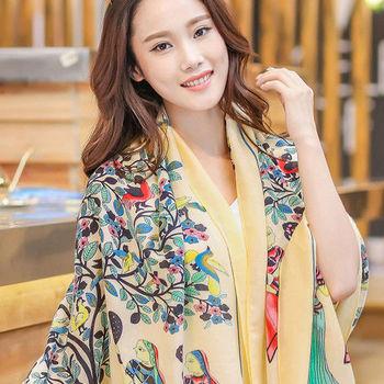 Seoul Show 花樹神話人織棉圍巾大披肩3色