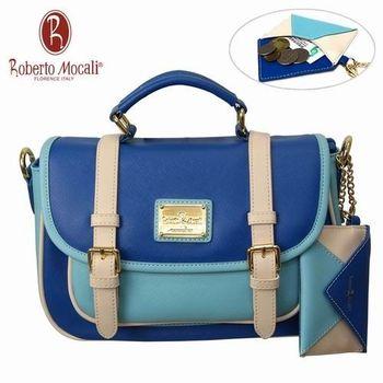 義大利Roberto Mocali藍色方型手提肩背包(送零錢包) RM-58102