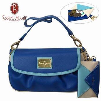 義大利Roberto Mocali藍色手拿肩背二用包(送零錢包)RM-58101