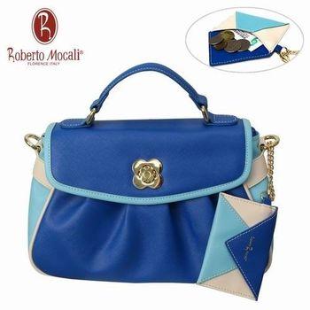 義大利Roberto Mocali藍色抓皺手提肩背女包(送零錢包) RM-58103