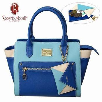 義大利Roberto Mocali藍色拉鍊手提肩背女包(送零錢包)RM-58105