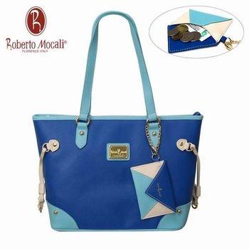 義大利Roberto Mocali藍色經典托特包(送零錢包)RM-58107
