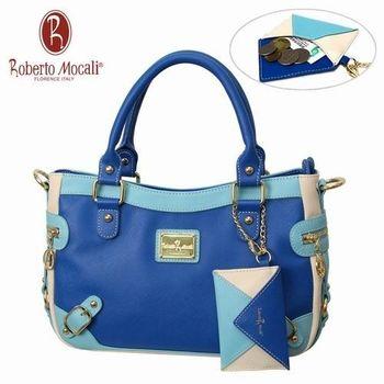義大利Roberto Mocali藍色U型手提肩背包(送零錢包)RM-58108