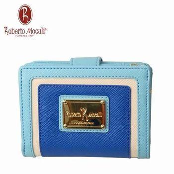 義大利Roberto Mocali藍色11卡二折中翻頁短夾RM-58201